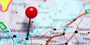 Trollhättan på kartan